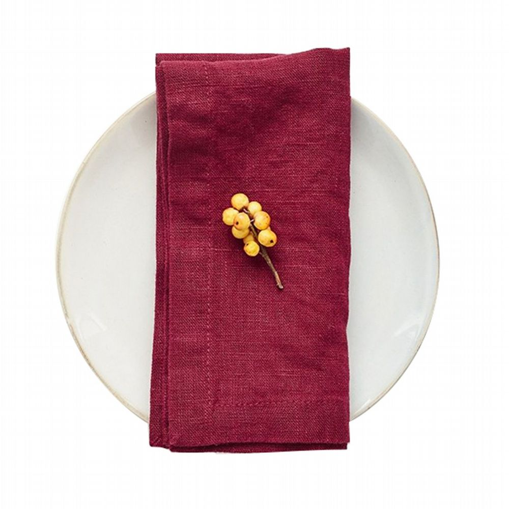 Linen Napkins Set Of 2 - Burgundy